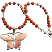 Matte Red Jasper and Mauve Butterfly Pendant Necklace