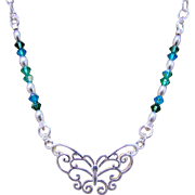 Sterling Silver Butterfly Focal and Swarovski Crystal Necklace