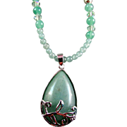 SALE Green Aventurine Pendant and Round Aventurine Bead Necklace and Earrings