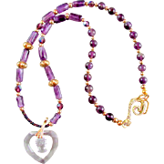 REDUCED Crystal Cameo Heart Pendant and Amethyst Necklace