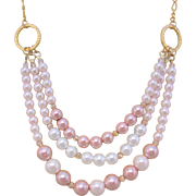Three strand Swarovski Glass Pearls on Gold plated Rings Necklace