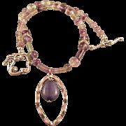 REDUCED Multi-Fluorite Gemstones and Purple Pendant Necklace