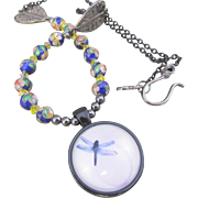 Gray-blue Dragonfly Glass Dome Pendant and Flower Cloisonné Bead Necklace