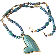 Azurite-Malachite Gemstones and Lopsided Teal Heart Pendant Necklace