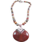 Red Creek Jasper and Red Agate Pendant Necklace and Earrings