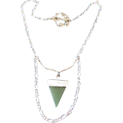 Textured Link with Green Aventurine Chakra Pendant on a Chain Necklace