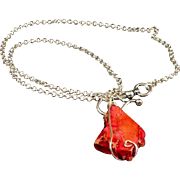 SOLD Wire-wrapped Dyed Pink Variscite Stone Pendant Necklace
