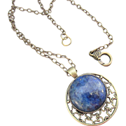 Round Lapis Lazuli Pendant and Brass Necklace