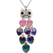 Iridescent Aluminum Owl Pendant and Gemstone Chip Necklace