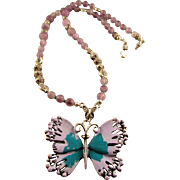 Matte Amethyst Gemstones with Metal Lavender Butterfly Necklace & Earrings