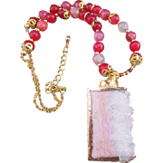 A Handmade Rectangular Rough-cut Druzy Pendant and Fire Agate Gemstone Necklace and Earrings