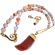 A Crescent Shape Quartz Pendant and Natural Red Matte Agate Necklace and Earrings