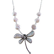 Mother of Pearl Winged Dragonfly and MOP Disc Necklace and Earrings
