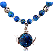 Blue Abalone Shell & Metal Teapot Pendant with Blue Glass Bead Necklace and Earrings