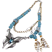 Pewter Butterfly Pendant with Aquamarine Glass Stone Necklace and Earrings