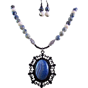 A White & Blue Striped Agate Pendant with Sodalite Gemstones Necklace and Earrings
