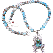 REDUCED An Abalone Back Frog Pendant & Brown Mottled Glass Bead Necklace and Earrings
