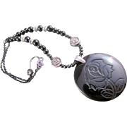 SALE A Black Obsidian Pendant with Carved Rose & Obsidian Gemstone Necklace & Earrings