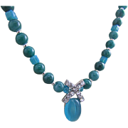 A Blue-Green Glass and Rhinestone Pendant with Apatite Gemstones Necklace and Earrings