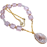 SALE A Geode Slice Agate Pendant and Pink Glass Necklace and Earrings