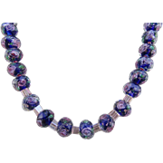 A Dark Blue with Pink Flowers Glass Rondelle Choker Necklace and Earrings