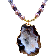 A Glass Pearls and End Slice Druzy Geode Pendant Necklace and Earrings