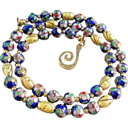 A Navy Blue Cloisonné Choker Necklace and Earrings