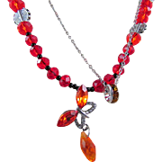 Vibrant Red-Orange Crystal Butterfly and Crystal Rondelle Double Layered Necklace and Earrings
