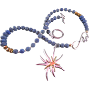 Two-toned Starfish Design Pendant and Matte Lapis Necklace and Earrings