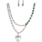 A Green Aventurine and Glass Pearl Multi Strand Necklace and Earrings