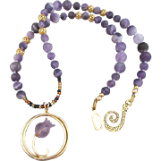 A Purple Matte Agate Bead Necklace and Flower Ring Pendant with Earrings