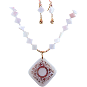 Mother of Pearl Pendant and Diagonal Discs Necklace