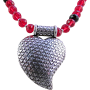 Whimsical Textured Heart with Red & Black Glass Rondelles Necklace & Earrings