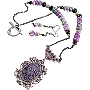 Purple Rose Vintage Style Pendant and Rainbow Rondelle Necklace and Earrings