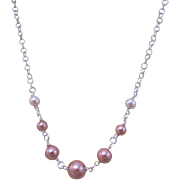 A Faux-Glass Pearl and Sterling Silver Brides Necklace and Earrings