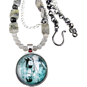 SALE Tourmilated Quartz Gemstones with Horse Pendant Necklace and Earrings