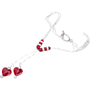 """Siam Red Swarovski Crystal Hearts """"Y"""" Necklace and Earrings"""