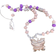 Butterfly Druzy Agate Pendant with Purple and Beige Bead Necklace and Earrings