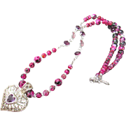 Vintage Filigree Heart with Rose Red Glass Bead and Swarovski Crystal Link Necklace and ...