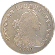 SALE 1799 Draped Bust Silver Dollar Irregular Date 15 Stars Bolender-4 BB-153 Very ...