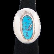 Sky Blue Kingman Turquoise Sterling Silver Signed Southwestern Vintage Ring