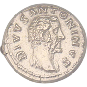 SALE Ancient Roman Silver Coin Divus Antoninus Pius Denaius 161 A.D. Graded by ICG ...