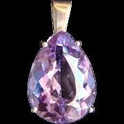 SALE Large Pear Shape Purple Amethyst 10 Karat Yellow Gold Pendant Necklace Spacer Elegant