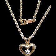 Cute Little Diamond Heart Pendant in 14 Karat Yellow Gold 15 Inch Choker Necklace