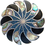 Vintage Sterling Silver Abalone Black Onyx and Blue Turquoise Inlay Brooch Pendant  From Mexic