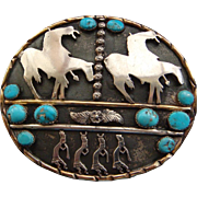 Large End of The Trail Flute Dancers Sterling Silver Gold Sky Blue Kingman Turquoise Large ...