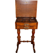 Antique Sewing Stand in Walnut, Circa 1860. Compartment top with inlay design lids.