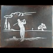 Heintz Bronze Box with Sterling Silver Overlay Golfing Scene