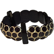 Celluloid Deco Bracelet Black and White Polka-Dots with 3 Spacers Circa 1930's