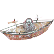 SOLD Mother of Pearl Ship Inkwell c1890 marked Catalina Island